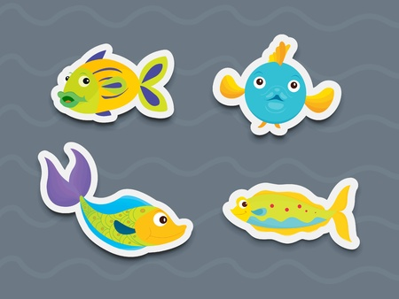 Illustration of mixed fish stickers Stock Vector - 13249399