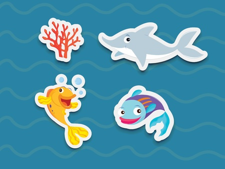 Illustration of mixed fish stickers Stock Vector - 13249406