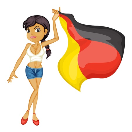 Illustration of a secy woman waving a flag Vector