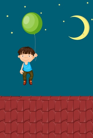 hand lifted: Illustration of a young boy floating with a balloon