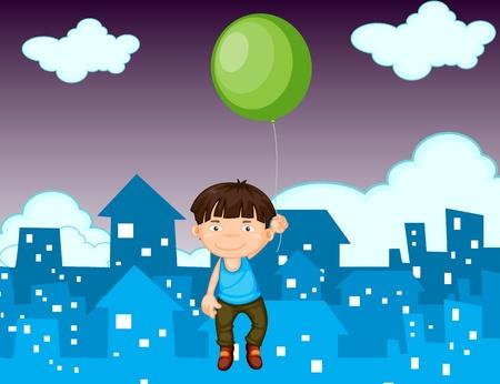 파악: 풍선 떠있는 어린 소년의 그림