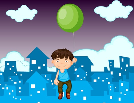 Illustration of a young boy floating with a balloon Stock Vector - 13249360