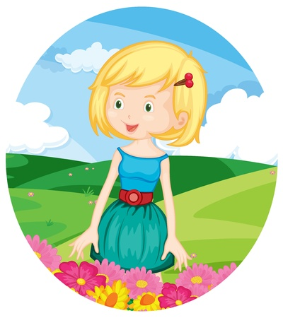 hairclip: Illustration of beautiful girl in a field