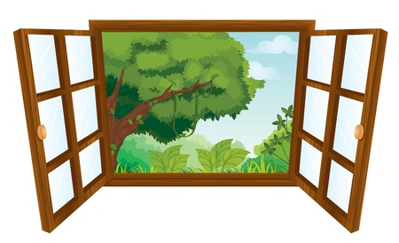 wooden window: isolated window to nature scene
