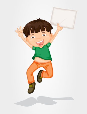Illustration of a boy jumping with a banner Illustration