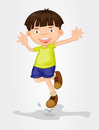 saltar: Ilustración de un joven de pie en blanco