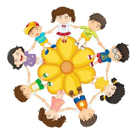 Illustration of a ring of children Stock Vector - 13249389