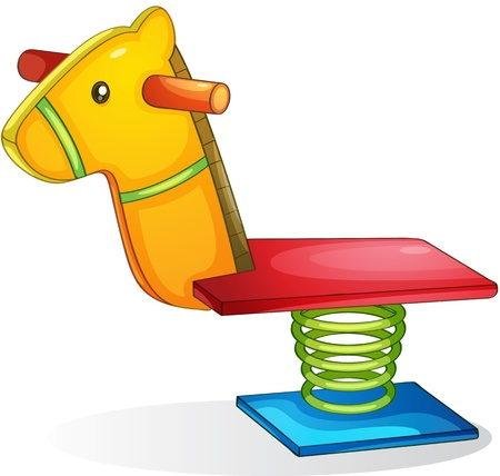 playground equipment: Illustration of springy horse