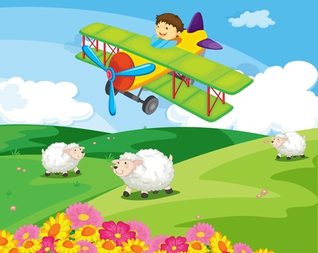 airplane landing: Boy flying over a field with sheep Illustration