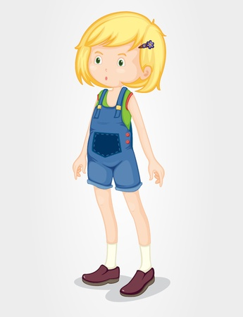 Illustration of a young girl wearing overalls Illustration