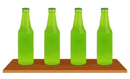 Illustration of 4 green bottles Vector
