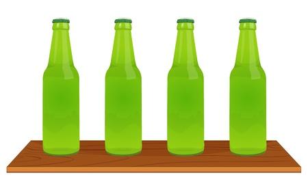 soda bottle: Illustration of 4 green bottles Illustration