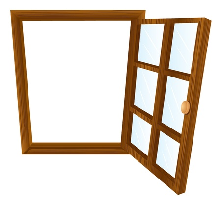 hinge: Illustration of a single window frame in dark wood Illustration