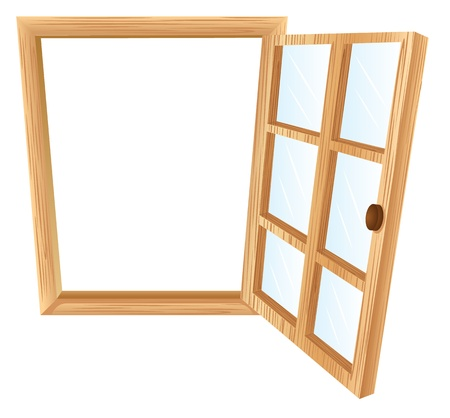 windows frame: Illustration of a single window frame in wood Illustration