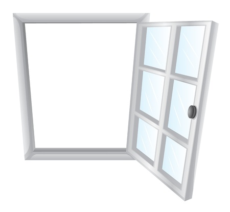 Illustration of a single window frame in white Vector