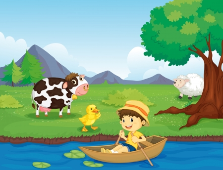 flowing river: Illustration of a boy in a boat by a farm Illustration