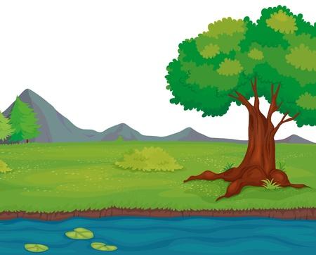 Illustration of an empty rural landscape Vector
