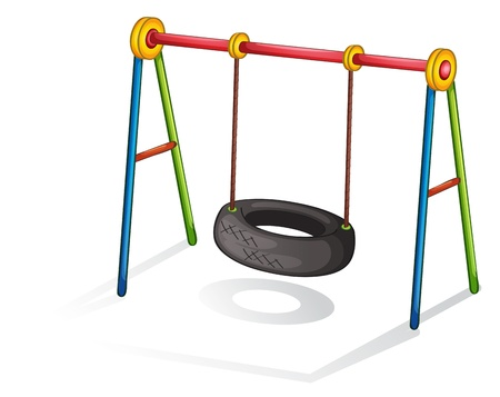 Isolated illustration of play equipment - tire swing Vector