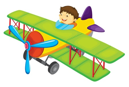 explorer: Illustration of a boy flying a plane Illustration