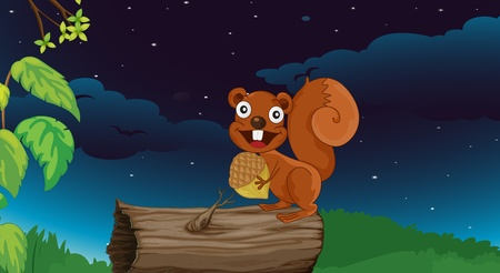 Illustration of a squirrel on a log Vector