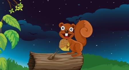 ardilla: Ilustración de una ardilla en un tronco