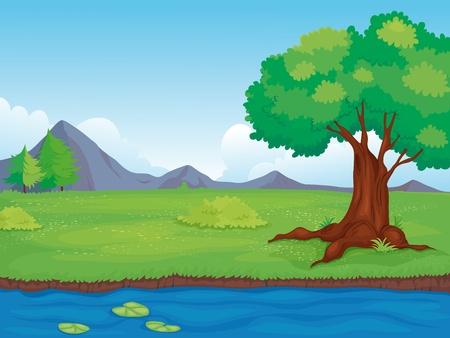 arboles de caricatura: Ilustraci�n de un paisaje rural vac�a