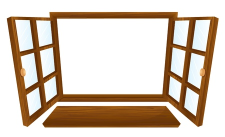 glass window: Illustration of double open windows