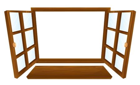 finestra: Illustrazione di due finestre aperte Vettoriali