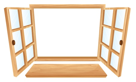 open windows: Illustration of double open windows