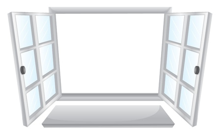 wooden window: Illustration of double open windows