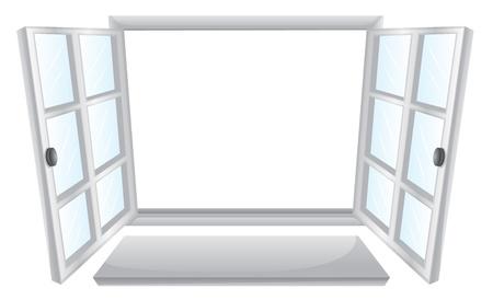 materiali edili: Illustrazione di due finestre aperte Vettoriali