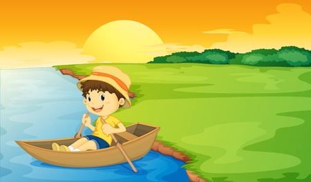 Boy in a boat at sunset Vector