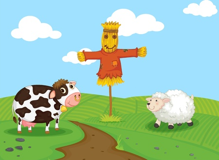 scarecrow: cow and a sheep on a farm