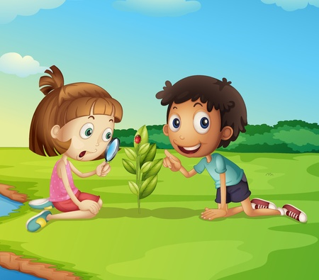 Illustration of 2 kids exploring nature Vector