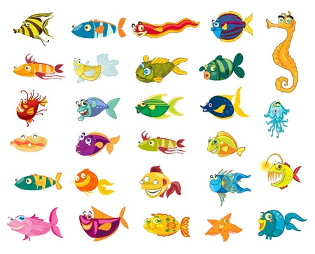 Illustrated set of marine animal cartoons Vector