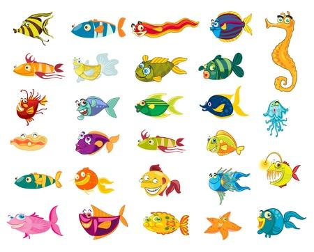 caricaturas de animales: Ilustrado serie de dibujos animados de animales marinos Vectores