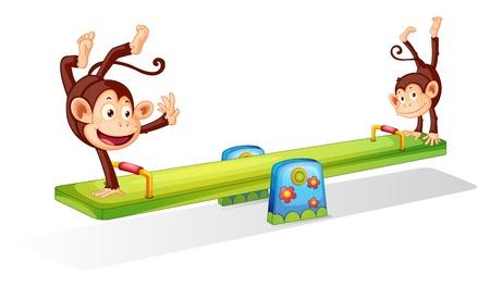 monkey cartoon: Los monos planying en un subibaja
