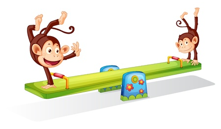 Monkeys planying on a seesaw Vector