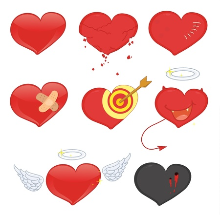 Illustrated set of heart objects Vector