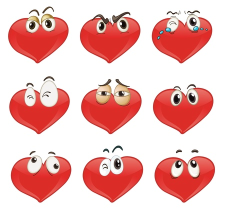 tired eyes: Illustrated set of heart characters
