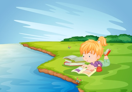 Girl doing homework in the park Vector