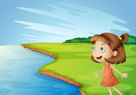 Illustration of girl looking across in a field Vector