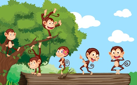 cartoon monkey: Monkeys on log in the forest