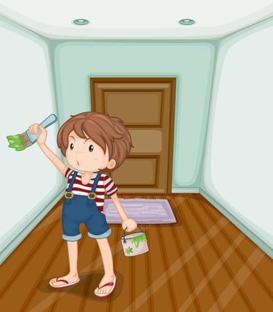 pavimento lucido: Illustrazione del ragazzo pittura la sua casa Vettoriali
