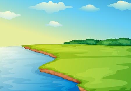 Illustratie van open gras veld op wateren rand