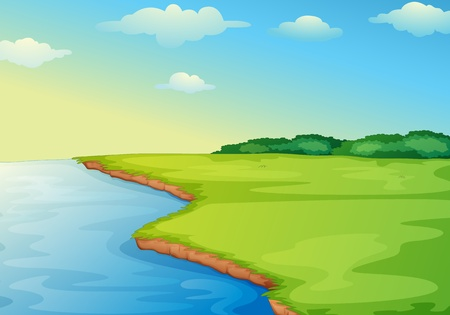 rivers mountains: Illustration of open grass field on waters edge Illustration