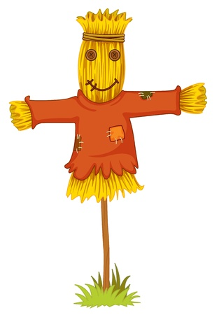 scare: Illustration of isolated scarecrow object Illustration