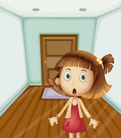 Illustration of girl scared at home Vector