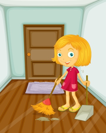 house chores: Illustration of girl sweeping the floor Illustration