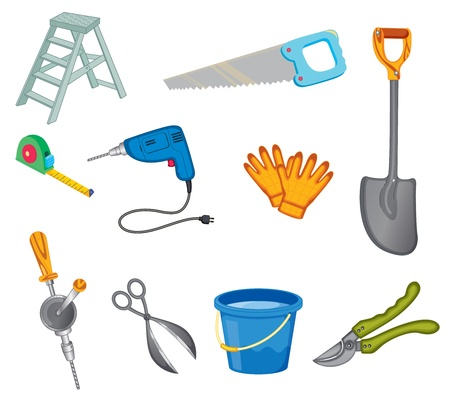 Illustrated set of common tools Vector